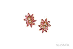 18kt Gold, Pink Tourmaline, and Diamond Flower Earclips, Asprey