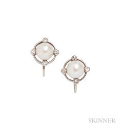 14kt White Gold, Cultured Pearl, and Diamond Earclips