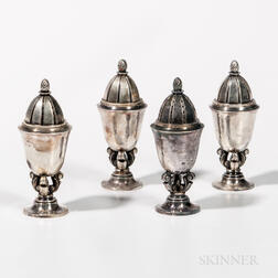 Four Georg Jensen Sterling Silver Shakers