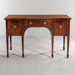George III Mahogany and Mahogany-veneered Serpentine Sideboard
