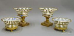 Two Pairs of Porcelain and Gilt Centerpieces