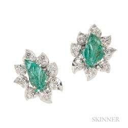14kt White Gold, Carved Emerald, and Diamond Earrings