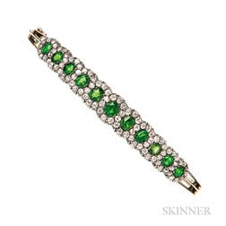 Demantoid Garnet and Diamond Bracelet