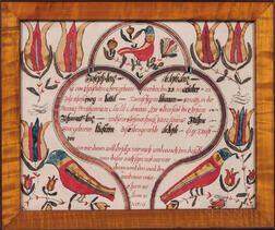 Watercolor and Pen and Ink Fraktur Birth Letter