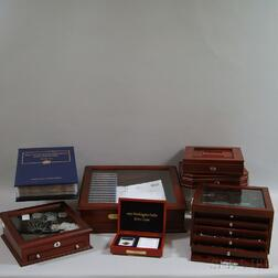 Group of Hardwood-cased Presidential Dollars and U.S. Silver Coins
