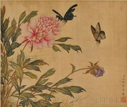 Hanging Scroll Depicting Blooming Peonies and Butterflies