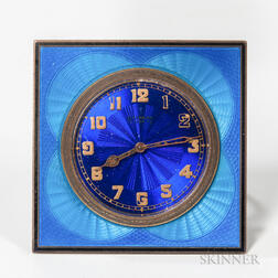Blue Enameled Guilloche Desk Clock