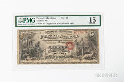 1865 Original First National Bank of Detroit, Michigan $5 Note, Ch. 97, PMG Choice Fine 15