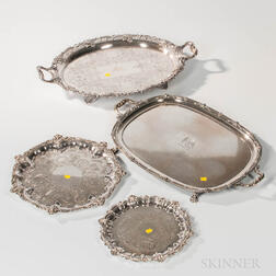 Four English Silver-plated Footed Trays and a Group of Coin Silver Flatware