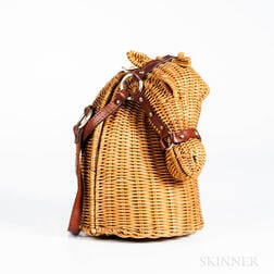 Marcus Brothers Wicker and Leather Horse-head Handbag
