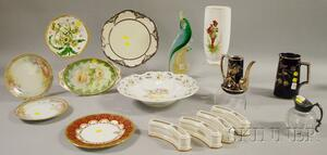 Three Art Glass and Thirteen Assorted Decorated Ceramic Articles