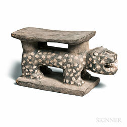Baule-style Carved Leopard Stool