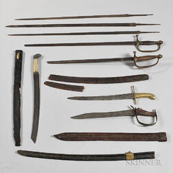Three Scabbards, Three Sword Blades, and Five Damaged Swords