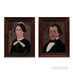 George Hartwell (Massachusetts, 1815-1901)      Pair of Portraits of a Man and Wife