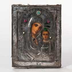 Russian Icon Depicting the Holy Mother and Child