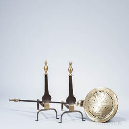 Pair of Wrought Iron and Brass Knife Blade Andirons and a Brass Bed Warmer