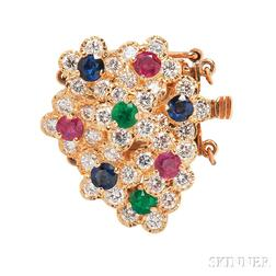 18kt Gold, Diamond, Ruby, Emerald, and Sapphire Clasp