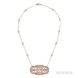 14kt Rose Gold and Diamond Pendant Necklace