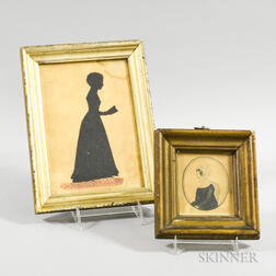 Framed Portrait Miniature of a Woman and a Full-length Cut Silhouette of a Girl