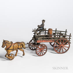 "Cast Iron ""City Truck"" Horse-drawn Wagon and Driver"