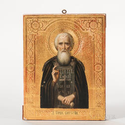 Russian Icon Depicting St. Sergius of Radonezh