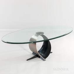 Modernist Glass Coffee Table on Brushed Steel and Enameled Base
