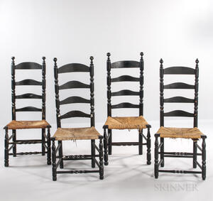 Four Black-painted Slat-back Chairs