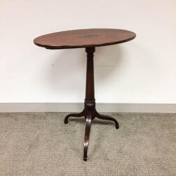 Federal Inlaid Mahogany Oval Tilt-top Candlestand