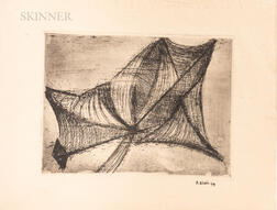 Pierrette Bloch (French, 1928-2015)      Two Works on Paper and Assorted Ephemera:   Untitled Abstract Print
