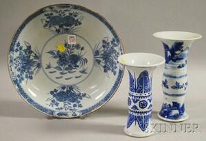 Three Chinese Blue and White Porcelain Items