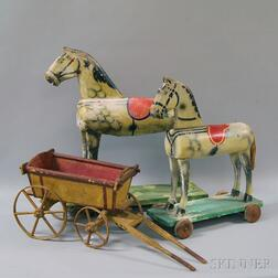 Two Painted Wooden Pull-toy Horses and a Wagon