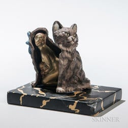Metamorphic Cold-painted Bronze Figure of a Cat