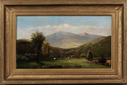 Charles Hunt (New York, Michigan, 1840-1914)      Pasture and Mountainous Landscape