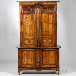 French Provincial Carved Fruitwood Armoire
