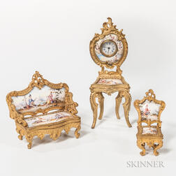 Viennese Enameled Gilt-metal Miniature Table Clock Furniture Set