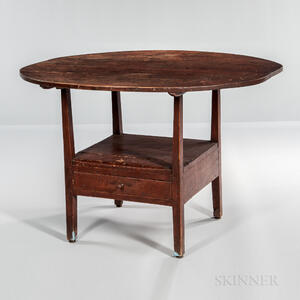 Red-painted Circular-top Hutch Table