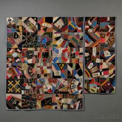 Victorian Embroidered Silk and Velvet Crazy Quilt and Table Runner