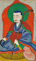 Buddhist Hanging Scroll Portrait of a Monk