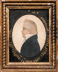 Rufus Porter (Connecticut/Massachusetts, 1792-1884)      Profile Portrait of an Elderly Gentleman