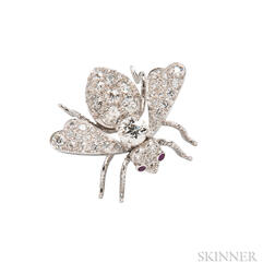 Platinum and Diamond Bee Brooch