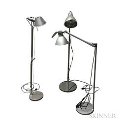 Three Metal Floor Lamps