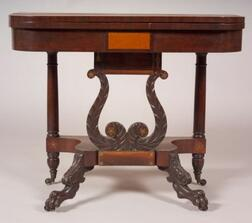 Classical Mahogany Carved and Rosewood and Brass Inlaid Gaming Table