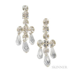 18kt White Gold and Rock Crystal Earpendants, Prince Dimitri