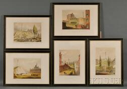 J.H. Buffords, lithographer (Boston, 19th Century) Lot of Five Old Boston Series Views: Beacon Hill From Mt. Vernon St.; Beacon Hi...