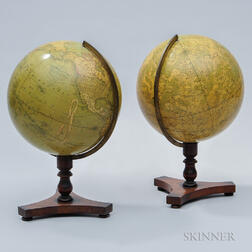 Pair of 12-inch C.F. Cruchley's Tabletop Globes