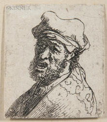 Rembrandt van Rijn (Dutch, 1606-1669)      Man Crying Out, Three-Quarters Left: Bust