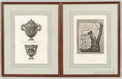 Giovanni Battista Piranesi (Italian, 1720-1778) and Francesco Piranesi (Italian, c. 1758-1810)  Two Framed Prints: Two Vie...