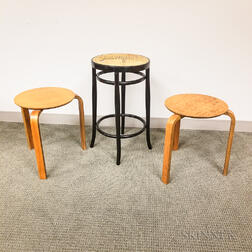 Thonet Cane-seat Stool and Two Bentwood Side Tables