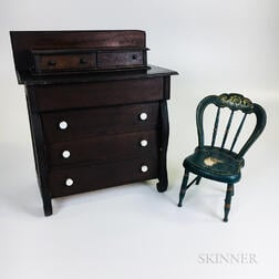 Miniature Late Classical-style Mahogany Chest of Drawers and a Blue-painted Fancy Chair