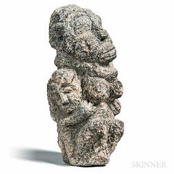 Mende-style Carved Stone Fertility Sculpture